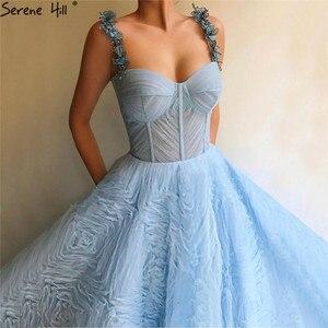 Image 2 - فساتين سهرة جذابة بزهور كريستالية بدون أكمام باللون الأزرق 2020 فستان رسمي طويل بطيات على شكل حرف a من التل فستان رسمي طويل من Serene Hill LA60992
