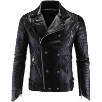 Punk Men's Motorcycle Slim Leather Jacket Men Leather Jackets and Coats Faux Leather Men Clothes 2018 PU Biker Men Fur Coat