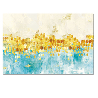 Big Size Print Modern Abstract Gold Money Sea Wave Oil Painting On Canvas Poster Modern Art