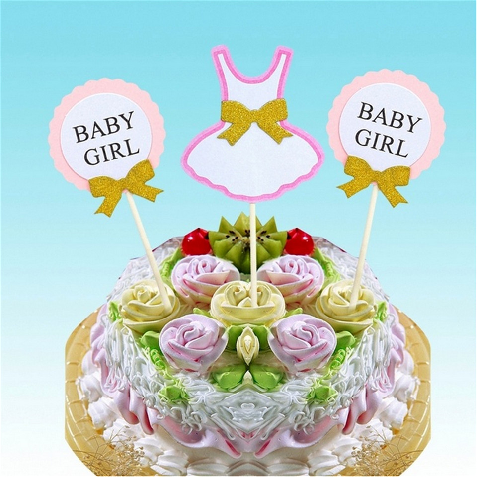 FaMaSuDu 3pcs Set Cake Topper Flag Baby Boy Girl 1 Year Old Age Happy Birthday For Party Decoration