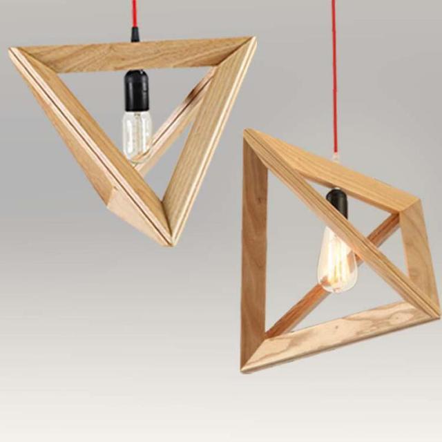Dreieckige Vintage Band Pendelleuchten Holz Buchse Retro Lampe 120 CM Bunte  Draht Hölzerne Kronleuchter Deckenpendelleuchte