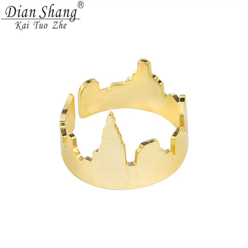 DIANSHANGKAITUOZHE Rose Gold Cityscape New York Ring For Women Men Silver Adjustable United States City Ring Male Female Vintage