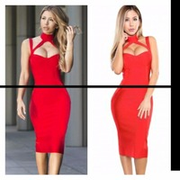 New Color Red Women's Sleeveless Sexy Bodycon Dress Knee Length Fashion Bandage Dress Evening Party Dress
