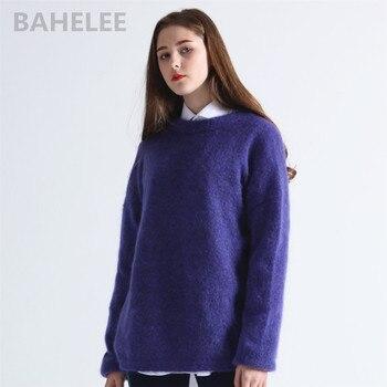 5c264b6e19b5 Cárdigans largos de conejo angora para mujer Otoño Invierno suéter holgado  a la moda con botón de perla bolsillo muy grueso mantener el calor