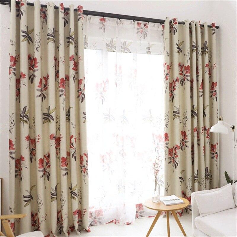 kopen goedkoop gedrukt luxe woonkamer gordijnen pastorale bloemen haken top gordijnen slaapkamer raam verduisteringsgordijnen online