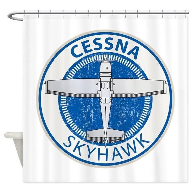 Aviation Cessna Skyhawk Decorative Fabric Shower Curtain 69x70