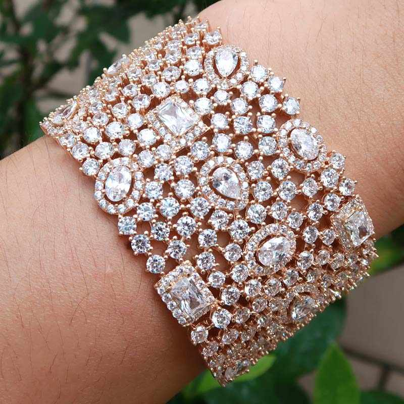monaco designer top accessories fashion unique cuff bangle AAA zircon micro pave hand bracelet