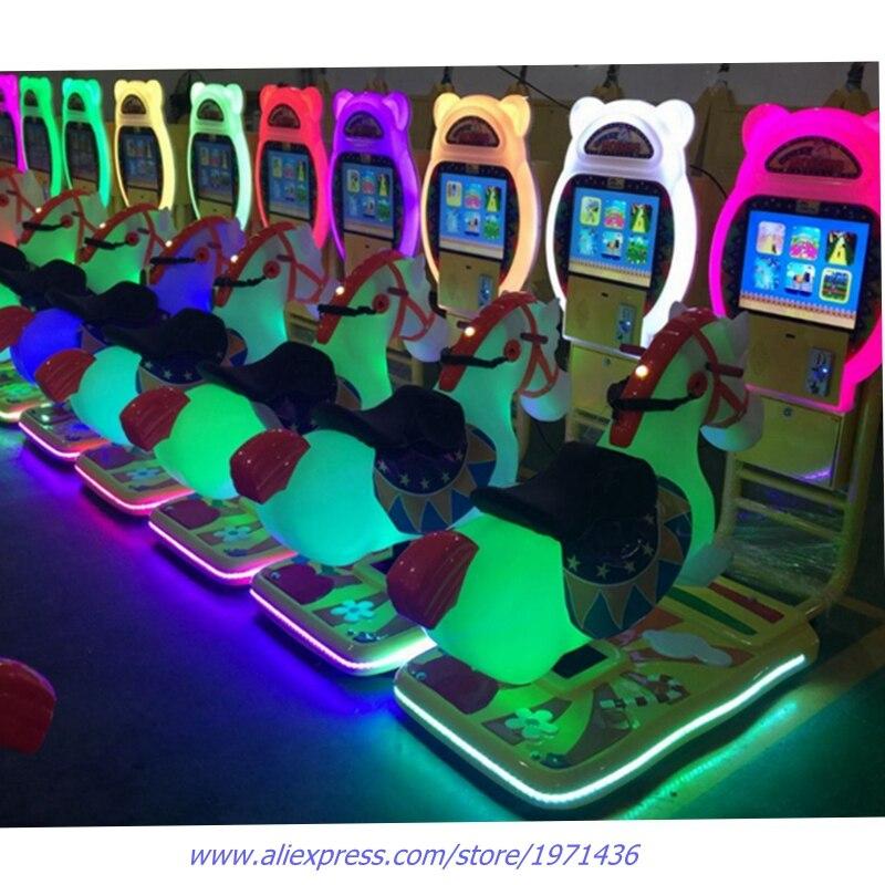 Coin Operated Ride On Horse Kiddie Rides Arcade Machine Swing Game Machine For Children 220v 6 holes coin token hopper for coin changer machine vending machine game machine