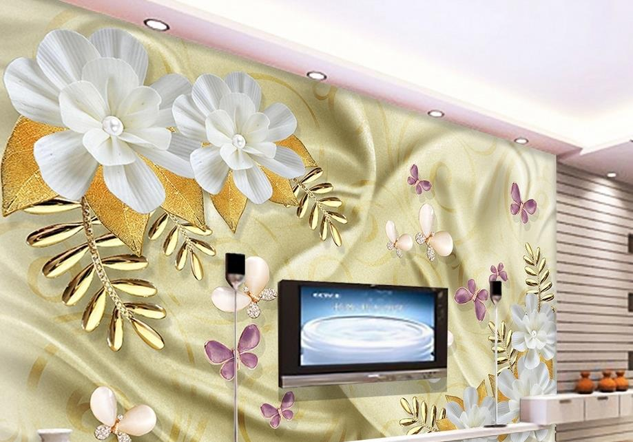 Individuelle Foto Wand Mural Blumen Dielianhua 3d Tapete Wohnzimmer Luxus Wallpaper Natur Gemlde
