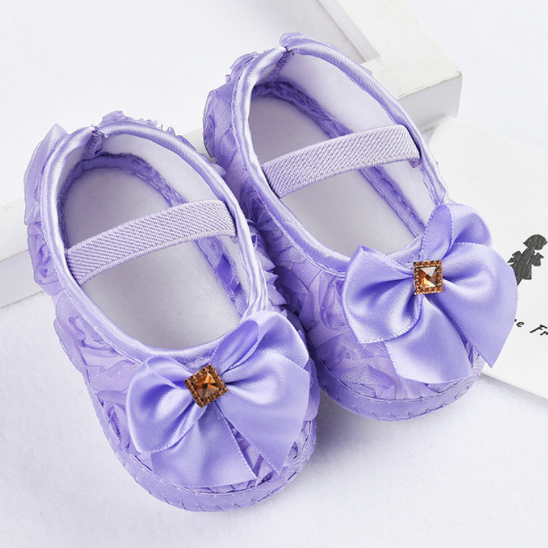 Baby Girl Shoes Ribbon Bow First Walkers Princess Baby Shoes Rose Flowers Bow Newborn Soft Anti-slip for infant Girls 3