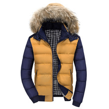 2015 New Autumn Winter Men Jackets High Casual Cotton Youth Fashion Fur Hats Men s Padded
