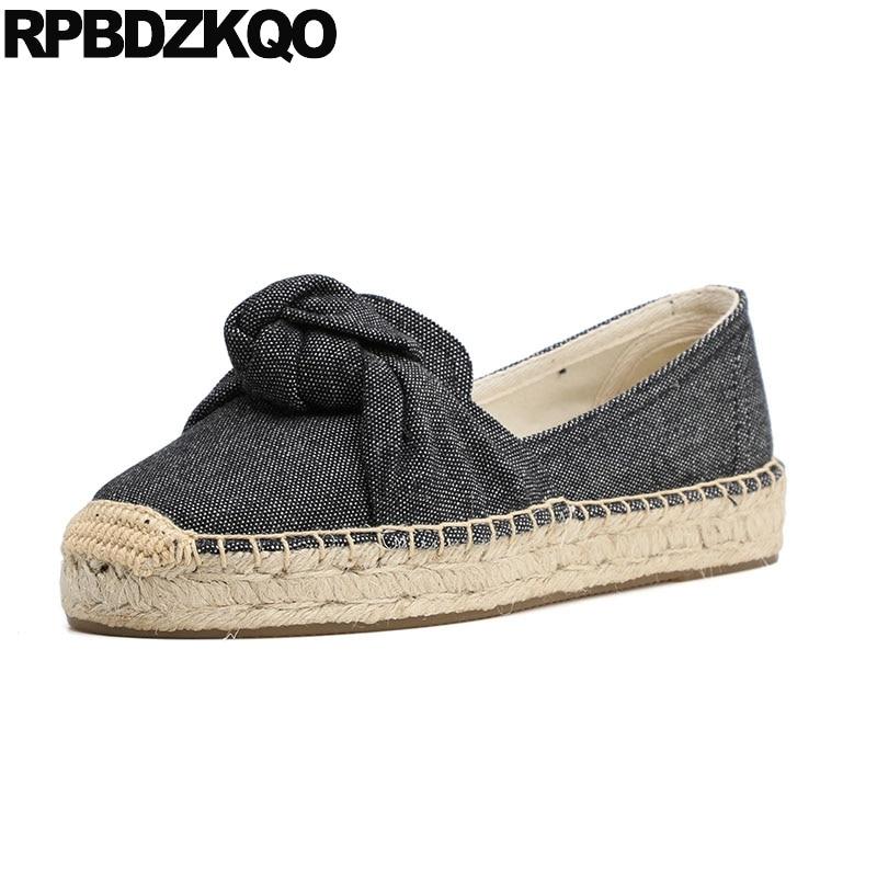 Jeans Espadrilles rétro rayé sans lacet femmes respirant noir et blanc bleu dames Denim chaussures vieux pékin tissu arc chanvre appartements
