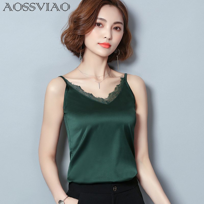 Top Woman Crop-Top Green Lace Black Sexy Summer-Style Sleeveless New Mesh Patchwork