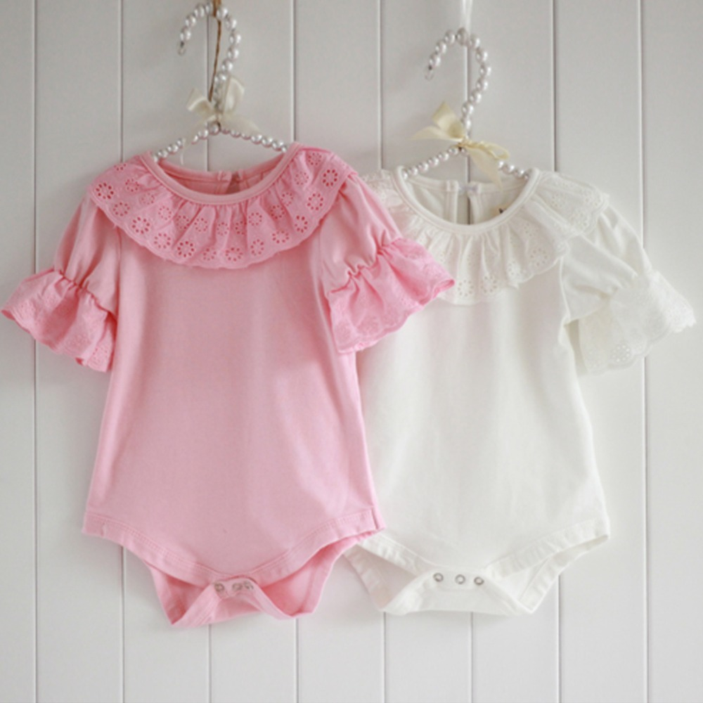 Baby Cotton Rompers Infant Toddler Jumpsuit Lace Collar Short Sleeve Baby Girl Clothing Newborn Bebe Overall Clothes summer cotton baby rompers boys infant toddler jumpsuit princess pink bow lace baby girl clothing newborn bebe overall clothes