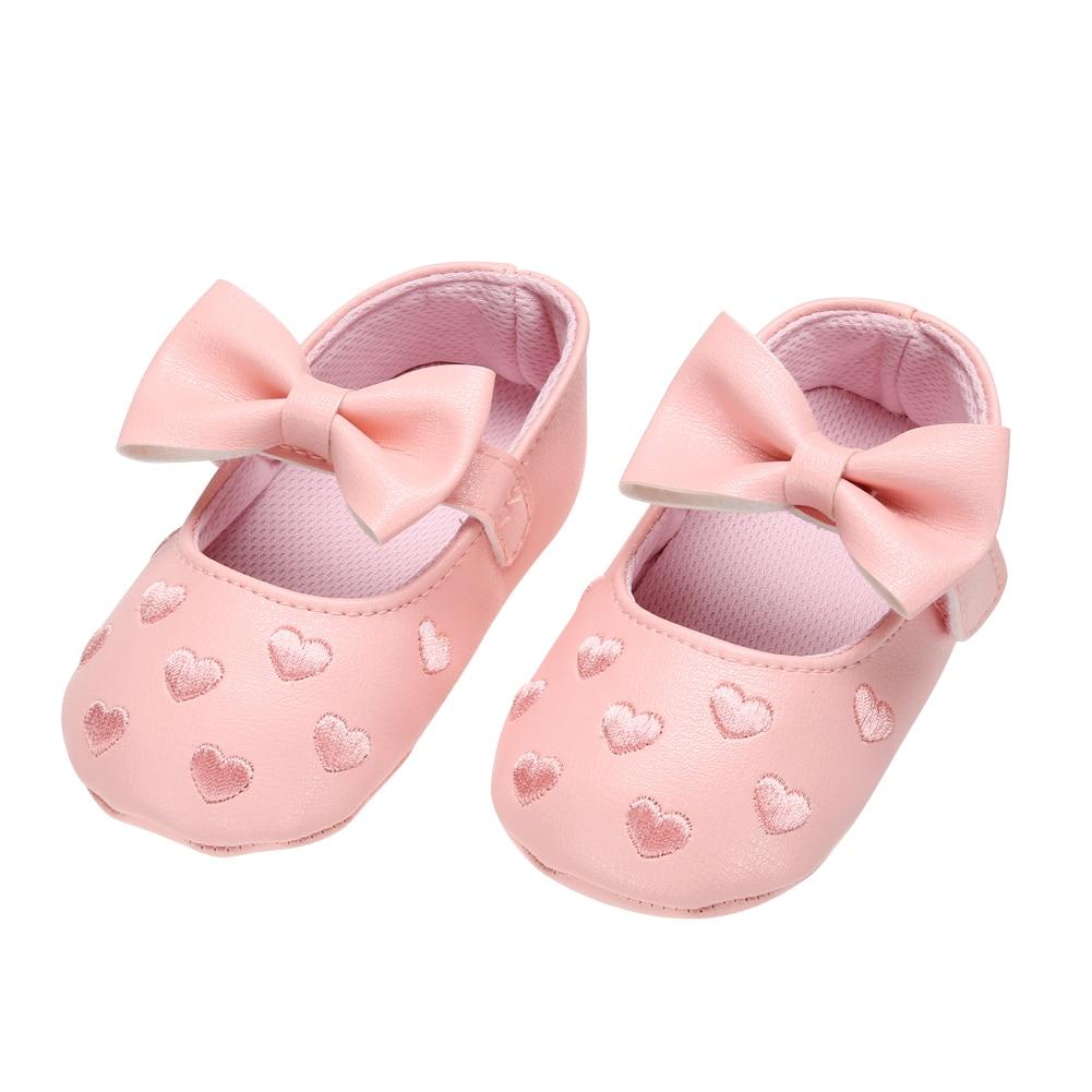 Baby Girls Boeknot Princess Shoes Pink Toddler Kids Girls Bowknot Prewalker Anti-slip Soft Sole Shoes Baby Spring First Walkers