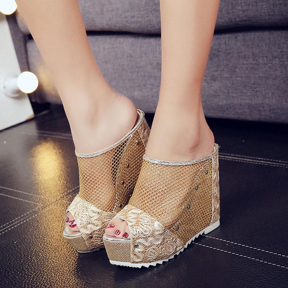 Women thick high heel platform sandals women 2018 mesh for Womens fishing shoes