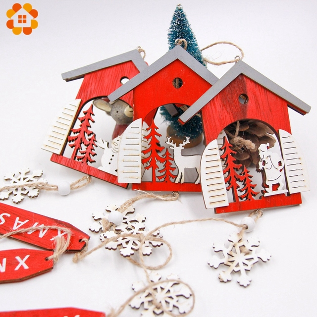 1PCS Christmas Santa Claus/Snowman Red Wooden Pendants Ornaments House Shape Xmas Tree Ornament For Christmas Party Decoration