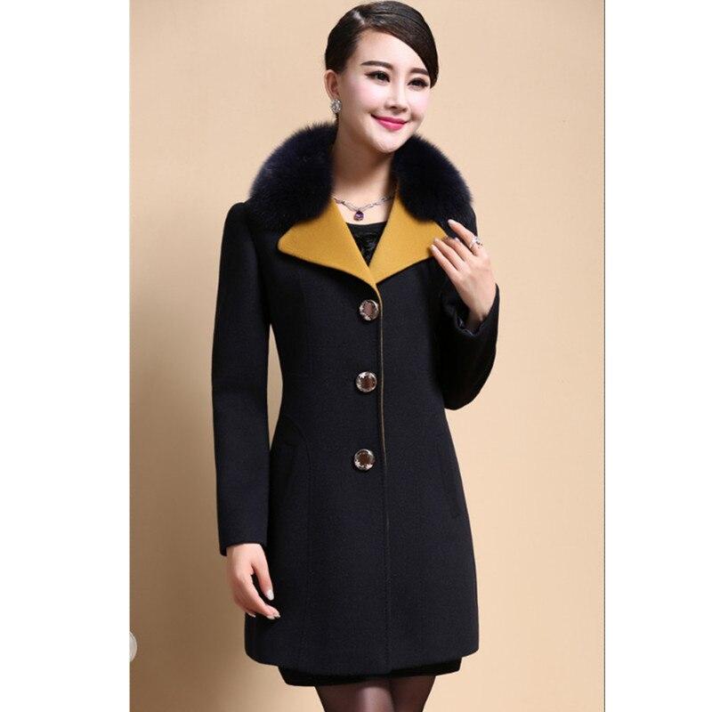 Single Automne Mode breasted 509 Fourrure Manteau Longue Femmes Hiver Grande Section Yellow black Vêtements Taille Col Laine De Yagenz 7EwA8Oqn