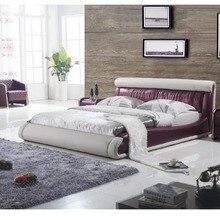 Современный круглый кожаный дизайн кровати с 7 удаленными цветами светильник