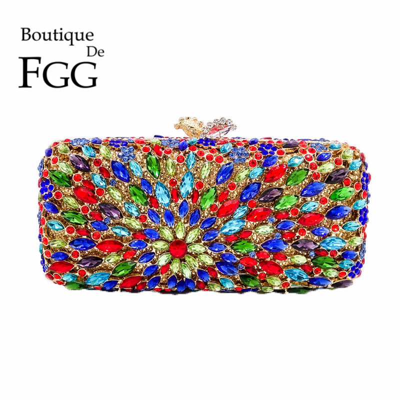 Hollow Out Multi Crystal Women Evening Bag Metal Clutches Minaudiere Handbags and Purses Bridal Diamond Party Wedding Hand Bags