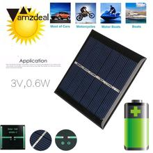 Amzdeal 0.6W DC 3V 160MA Mini Solar Cells 6.5×6.5×0.3cm Resin Battery Power Supply Charger Silicon Panel Solar Power Panel