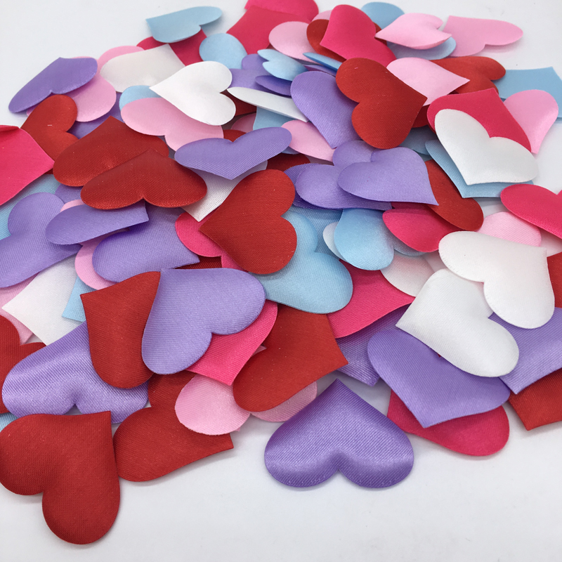 100pcs 3 5cm DIY Heart petals wedding decorations Satin Gold Silver Fabric heart confetti wedding decor supplies in Banners Streamers Confetti from Home Garden