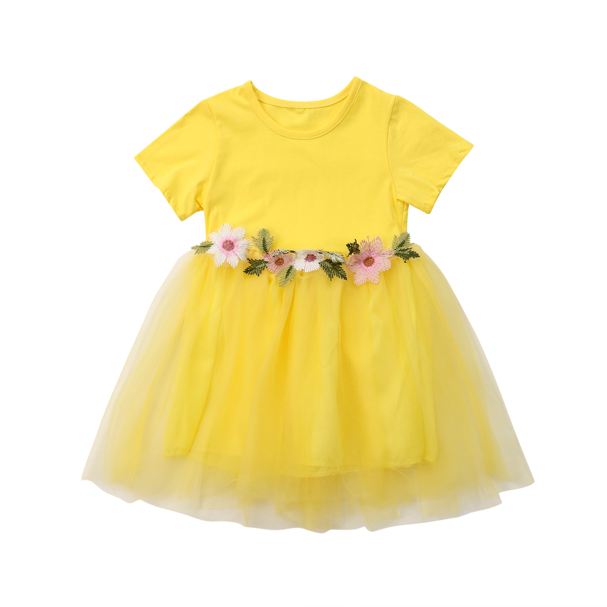 2018 Cute Toddler Baby Girl Cotton Lace Flower Pink Yellow Dress Kids Girl Party -1386