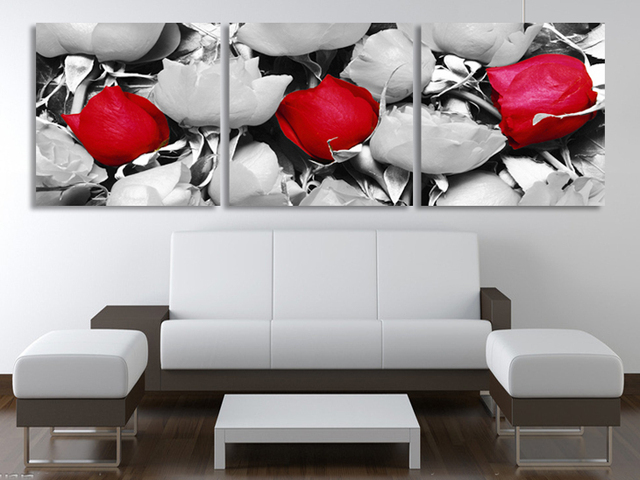 3 Panels Wandkunst Schwarz Weiß Rote Blume Moderne Malerei auf ...