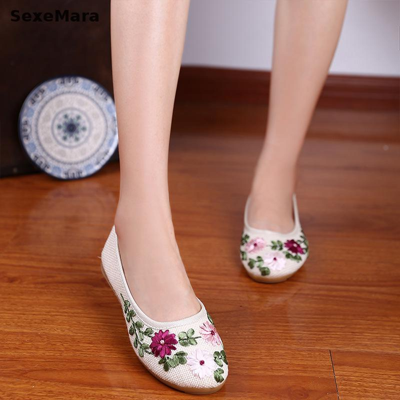 2017 New Vintage Embroidery Flat Shoes Women Ballerinas Dance Embroidery Shoes Platform Canvas Walking Casual Shoes Size 34-40 fashion embroidery flat platform shoes women casual shoes female soft breathable walking cute students canvas shoes tufli tenis