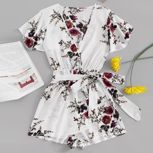 Summer Women's Clothing Short Sleeve Playsuit Floral Print Wrap Romper Vacation V Neck Mid Waist Beach Playsuit v neck overlay dot print design playsuit in white