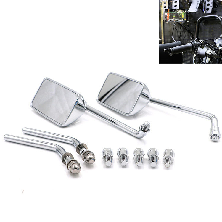 top quality chrome silver rectangle retor motorbike accessories scooter parts moto mirrors for harley motorcycle rearview mirror