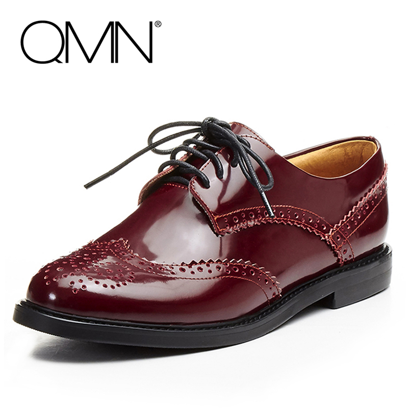 QMN women genuine leather flats Women Cow Leather Oxfords Classical Vintage Brogue Shoes Woman Full Leather Flats qmn women genuine leather flats women square toe brogue shoes woman typical british style real leather oxfords 34 40