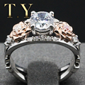 Romantic Flodal Five Stone Moissanites Ring 1 Carat Weight Certificate Round DEF Lab Grown Diamond Engagement Ring 9K Two-tone