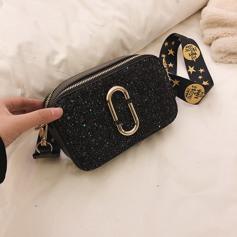 2019 Fashion New Ladies Sequin Square bag High quality PU Leather Women 39 s Designer Luxury Handbag Black Shoulder Messenger bag in Top Handle Bags from Luggage amp Bags