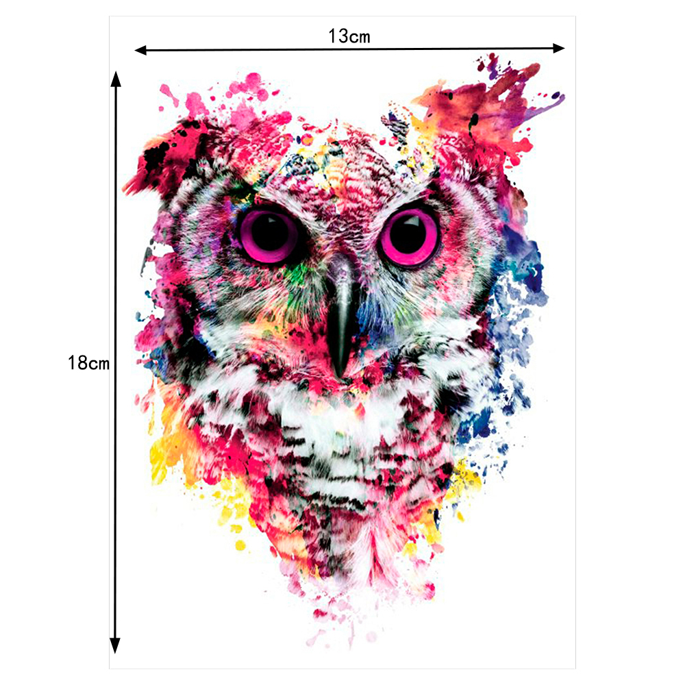 1 Sheet Colorful Drawing Temporary Tattoo Women Men Body Art Catoon Owl Decal Design Waterproof Tattoo Sticker Watercolor lot 2pcs beckham waterproof flower tattoo 3d tattoo sticker mechanical tattoo male women body paint temporary body rocker tattoo