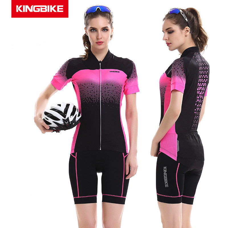 KINGBIKE Summer Women Breathable MTB Road Bike Clothing Bicycle Clothes Ropa Ciclismo Cycling Wear Polyester Cycling Jersey Set  short sleeve breathable mtb bike clothing women bicycle clothes ropa ciclismo 100% polyester cycling jersey set maillot ciclismo