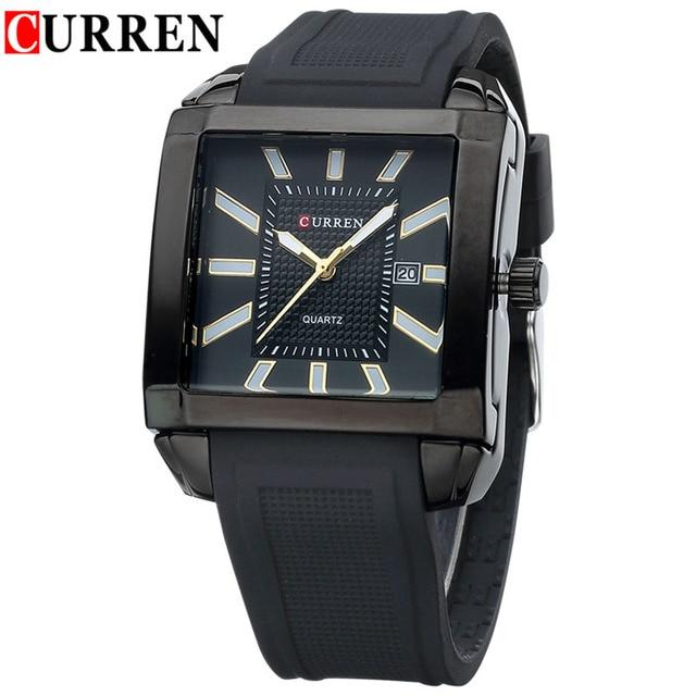6ac41b6d8be2c5 Curren orologi uomo luxury brand quadrati orologi da polso analogico al  quarzo-orologio gomma di