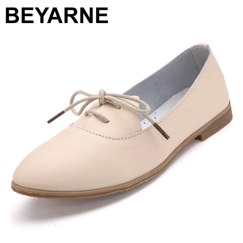 BEYARNE  2018 Four seasons Woman ballet flats pointed toe Ruffles Sewing lace up leather shoes Fashion Leisure women Light shoes pu pointed toe flats with eyelet strap