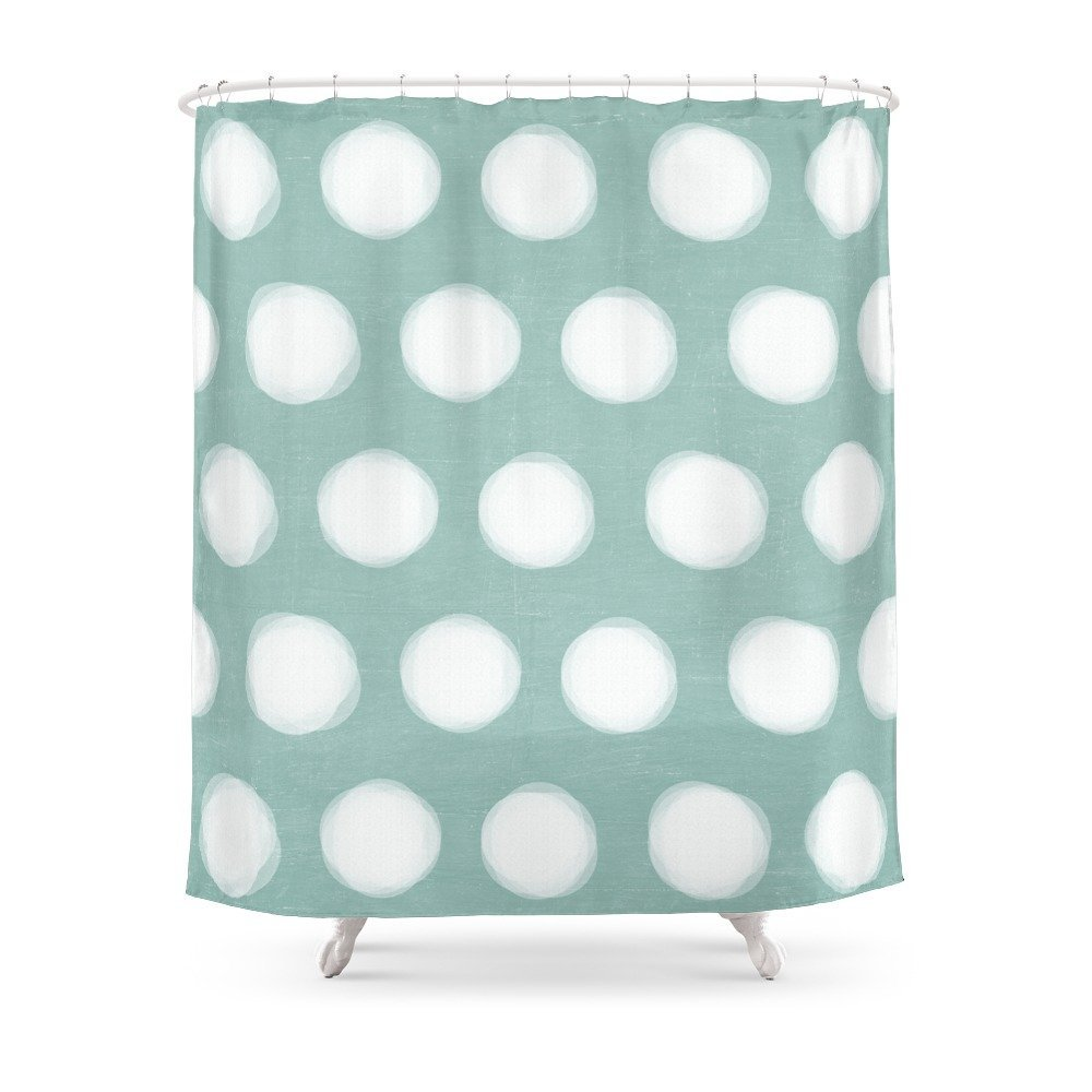 Painted Polka Dots Robins Egg Blue Shower Curtain In Curtains From Home Garden On Aliexpress