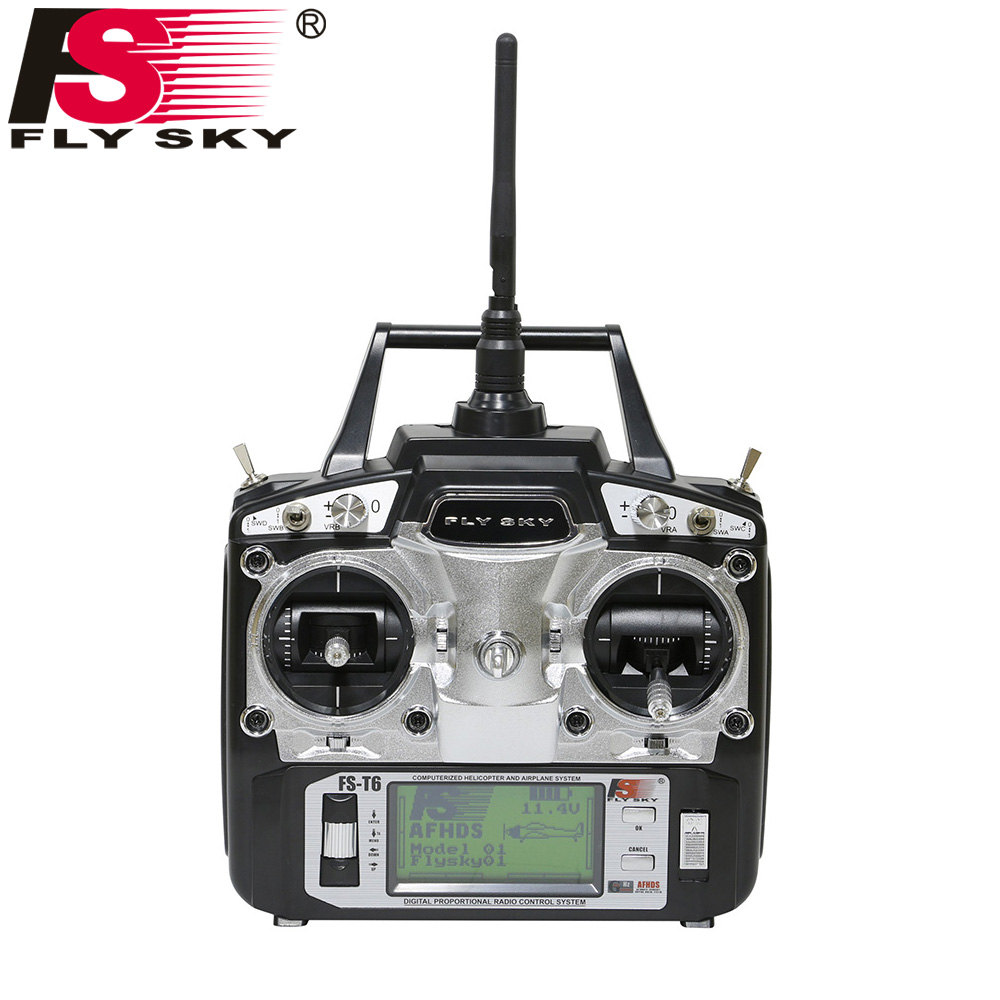 Flysky FS-T6 FS T6 6ch 2.4g w/ LCD Screen RC Transmitter + FS R6B Receiver For Heli Plane For RC Drone Quadecopter Airplanes gartt flysky fs t6 fs t6 2 4g digital 6 channels transmitter