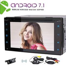 Wireless Camera Car Stereo 2din GPS Navigation Autoradio Android 7.1 DVD Video 1080P Player Bluetooth FM Receiver Head Unit Wifi