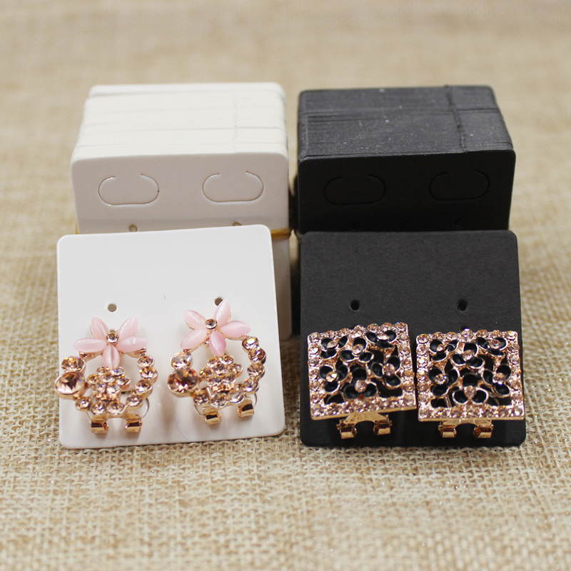 200 Pcs Per Lot 4*4cm White/black Paper Card Stud Earring Package Tag Card  For Jewelry Display Packing