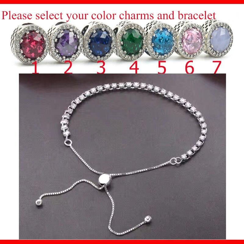 D'origine 100% 925 Sterling Argent Réglable Brillant Blanc Rose Bracelet Chaîne Décoration Bracelet avec charmes Pour Femme cadeau