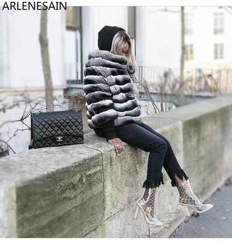 Coûteux Luxe Personnalisé Fourrure Femmes Manteau Nouveau Chinchilla Argent Arlenesain Mode Importés 2018 De SzVqULGpM