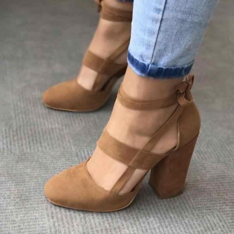 Plus Größe Sommer Frauen Schuhe Ankle Strap High Heels Gladiator Sandalen Frauen Dicke Heels Mode Dame Party Hochzeit Pumpen WSH3329