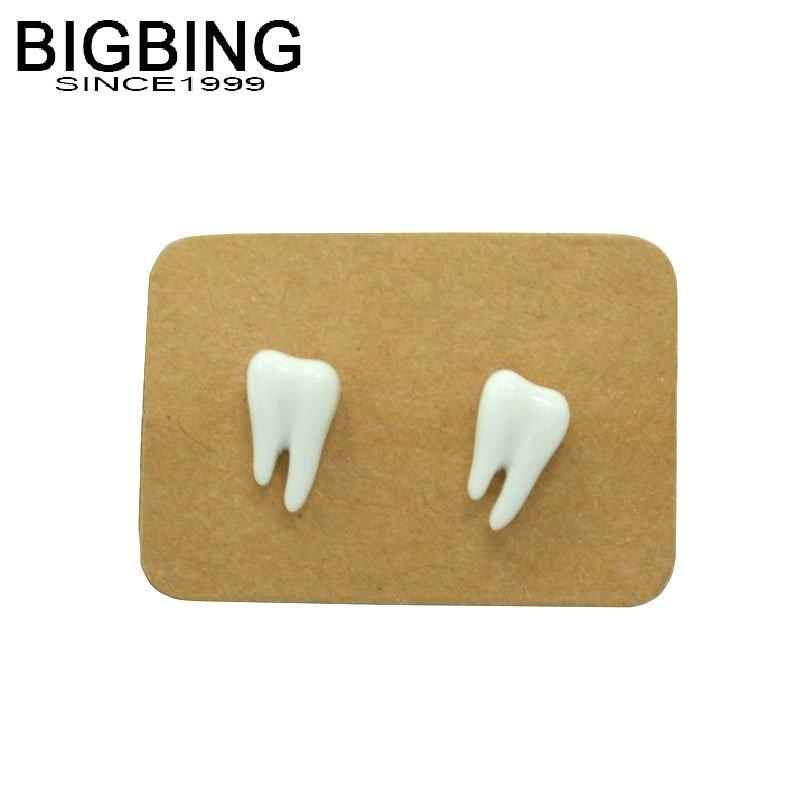 K069 BIGBING jewelry fashion small colorful tooth ceramic stud Earrings fashion women earring fashion jewelry nickel free