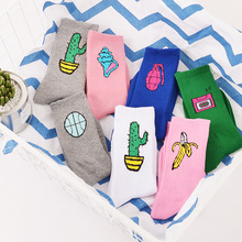 Korean Novelty Women and Men Cotton Crew Socks Funny Cactus Banana Pattern Creative Lovers Sox Harajuku Novelty pink white