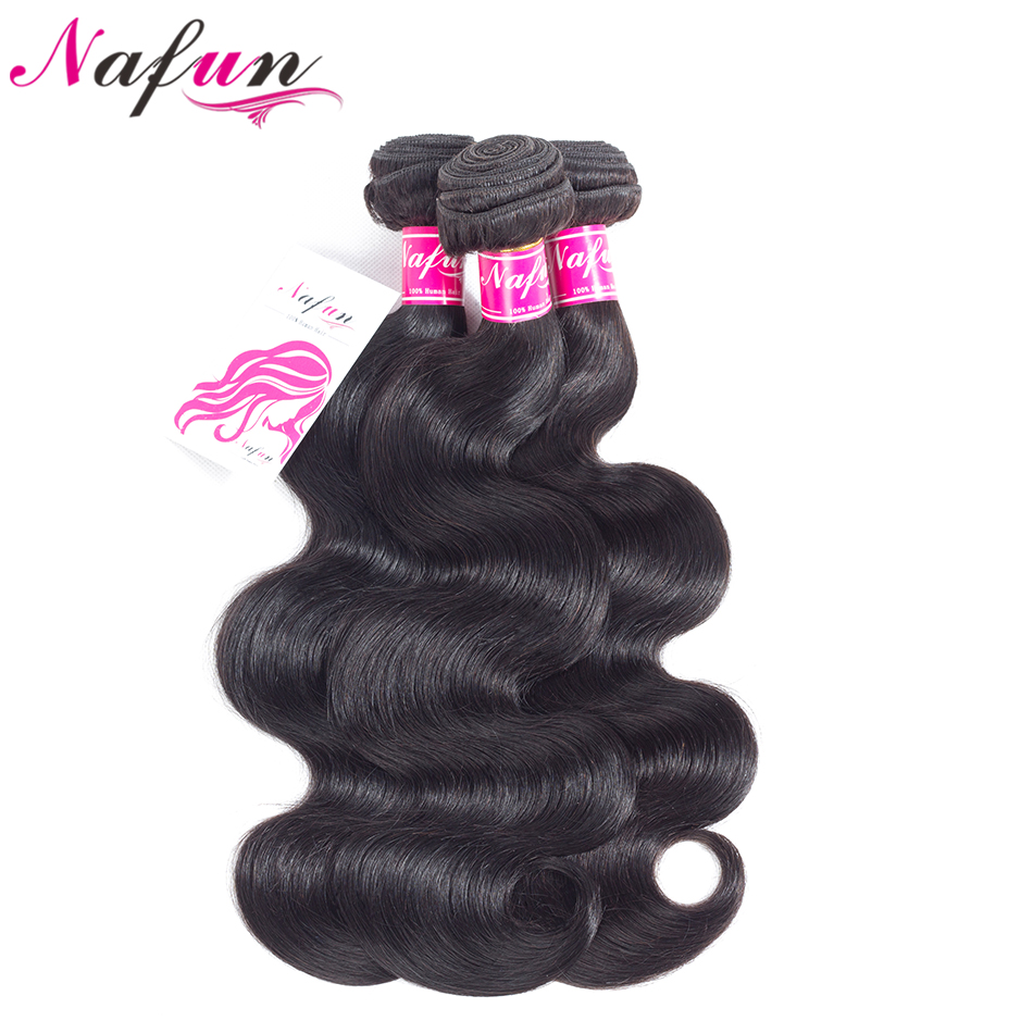 NAFUN Hair Malaysia Body Wave Hair Weave Bundles Natural Color Human Hair 8-26 Inches 3 Bundles Non Remy Hair ...