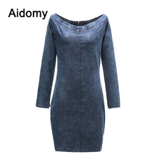 Off Shoulder Dress For Women 2019 New Fashion Denim Dresses Sexy Long Sleeve Bodycon Women Blue Jean Dress Vestidos