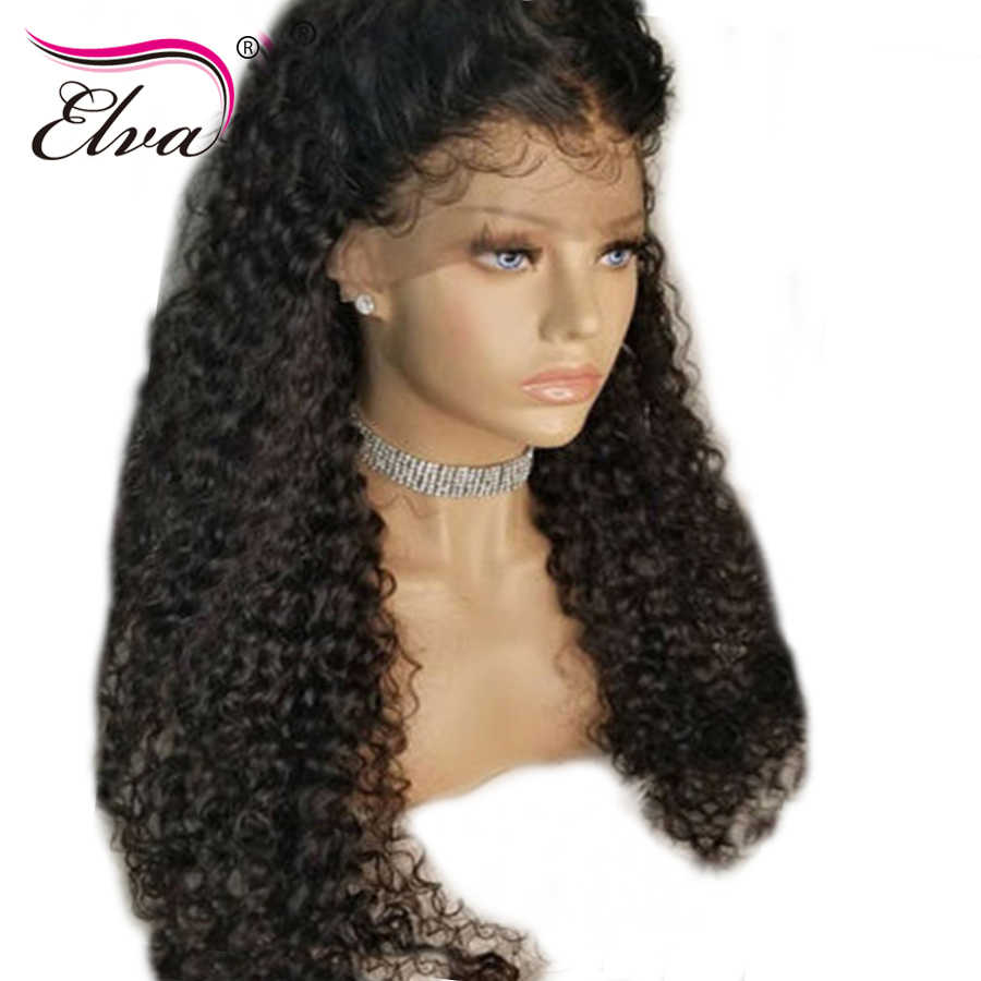 Elva Hair Curly Full Lace Human Hair Wigs Brazilian Remy Hair Full Lace Wigs Pre Plucked With Baby Hair Bleached Knots 8-26''